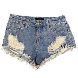 Forever 21 Distressed Frayed Light Wash Shorts